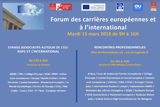 FORUM DES CARRIERES EUROPEENNES ET A L'INTERNATIONAL I European School of Law de Toulouse
